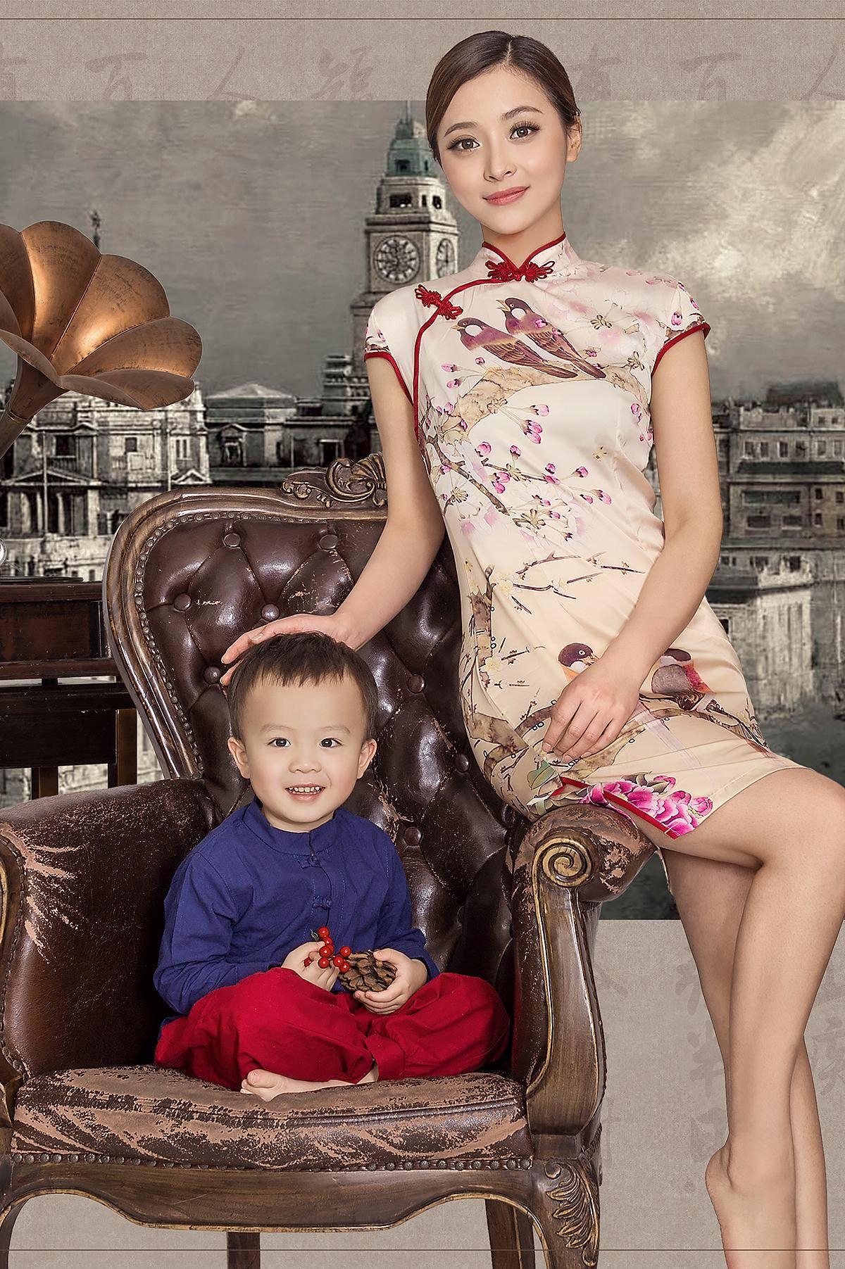 中国风 工笔画 儿童 孕妇 人像摄影相册素材